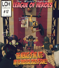 World's Mightiest: League of Heroes # 17 (jgg3210) Tags: lego leagueofheroes loh moc minifigure minifigures superhero supervillain big top circus crime comic comicbook cover mr kite blue bombshell bullet point mezmarr magnificent crimson cloak cobalt cyclone silver sentry gothic retro