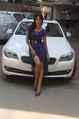 Actress Sanjjanaa with her own BMW 5 series (4)