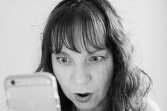 naomi160912-204 (Naomi Creek) Tags: selfportrait portraiture portrait selfdiscovery creativity explore personal project blackandwhite bw crochet girl woman surprised iphone phone shocked