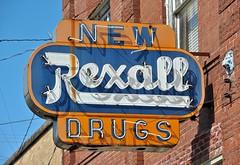 The not so New Rexall Drugs (Rob Sneed) Tags: neon vintage advertising louisiana opelousas americana abandoned rust weathered faded broken usa urban gargoyle