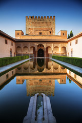 Alhambra palace, Granada, Spain (chrisdingsdale) Tags: alhambra palace granada spain andalusia traditional culture architecture castle sky light tree travel tourism place famous landscape tower fort journey arabic europe moorish style monument nobody history over wall color day outdoors tranquil medieval beautiful scene summer heritage historical patio pool