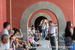 Beijing China - Tourists taking pictures and resting in the Forbidden City. (Remsberg Photos) Tags: asia beijing eastasia china forbiddencity emporer dynasty ming tourists sightseeing palacemuseum history historical culture chineseculture forbidden traveldestinations internationallandmark architecture cityscape temple tiananmensquare monument meridiangate cellphones photography chn