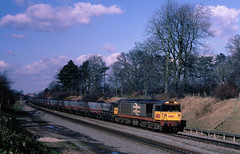 Three Oldies 2nite...first what was an everyday and might one say mundane sight at the time...most passin by unphotted....but not this one....7V49 58042 Barrow Hill-Didcot Bentley Heath 16-02-1988 (the.chair) Tags: 7v49 58042 ironbridge ps barrow hilldidcot bentley heath feb 1988