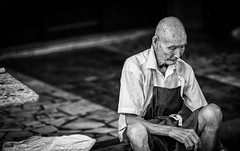 Street Vender.jpg (Mookalafalas) Tags: poverty street urban blackandwhite canon market taiwan elderly lonely aged suffering vender 135l 5d3