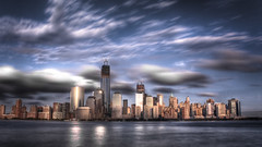 Downtown / WTC (Tim Drivas) Tags: nyc newyorkcity longexposure newyork skyline downtown skyscrapers manhattan worldtradecenter hudsonriver wtc gothamist hdr exchangeplace lowermanhattan wfc freedomtower cloudmovement 1wtc