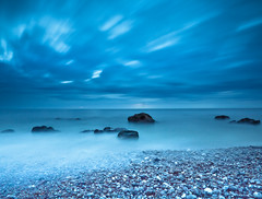 Blue pearl (Sophie-Vandebuerie) Tags: longexposure blue light sea summer france cold beach water lines clouds canon landscape fun scenery europe le popular eternal sophievandebuerie