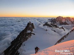 Chamonix, Mont-Blanc - Above the Clouds @Sunrise (GlobeTrotter 2000) Tags: travel vacation mountain snow france alps tourism expedition sport clouds alpes trekking trek climb europe altitude extreme peak visit glacier adventure climbing alpine summit midi chamonix mont blanc mb montblanc refuge surise alpinism gouter hight aiguille alpinist maudit tacul cosmiques