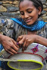 Hareg Learning the Art (Rod Waddington) Tags: africa girl grass traditional craft homemade ethiopia making tigre baket