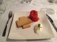 Strawberry & champagne Jelly crme fraiche and lemon shortbread (Bookatable) Tags: london restaurant 11 cadogangardens