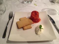 Strawberry & champagne Jelly crème fraiche and lemon shortbread (Bookatable) Tags: london restaurant 11 cadogangardens