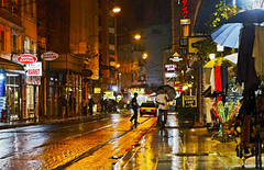 Rainy Night in Istanbul (arfabita) Tags: street city people color colour nature public water lines rain night reflections turkey shopping landscape lights major high interesting intense asia europe general metro geometry vibrant circles empty patterns tracks shapes culture angles vivid tram scene istanbul surface illuminated negative rails environment forms geometrical unusual areas straight scape puddles brilliant rainfall radiant arcs cultural spaces generic captial margins