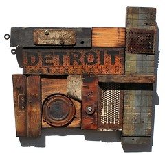 Lost and Found Detroit No. 3 (VISUAL DEFECTS) Tags: wood collage rust decay michigan assemblage mixedmedia detroit foundobject packardplant motown motorcity