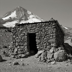 Shelter, Cooper Spur, Mt. Hood (austin granger) Tags: mountain storm film stone oregon square hut mthood shelter cooperspur austingranger