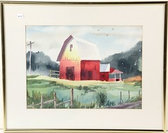 "67. Ted Gravenson ""Red Barn"" Watercolor"