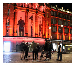 skaters break (sigi-sunshine) Tags: rotlicht redlight skater skaters skateboard fun nightlife freestyle red rot rouge city stadt urban galeries lafayette strasbourg france alsace