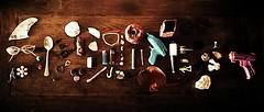 One man's trash is another man's treasure (ems_keogh) Tags: trash treasure quote man ocean sea junk glasses shells seashell water gun garbage photo photography art table wood brown warm