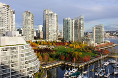 Warm autumn evening (CAN Photo) Tags: falsecreek autumn travelandtourism highviewpoint sunset goldenhour water outdoor boats britishcolumbia orange red vancouver warmlight beachcrescent marina travel canada earlyevening yellow warmcolours georgewainbornpark