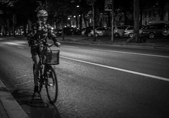 Biker (Henka69) Tags: bike street streetphoto stockholm night candid movement monochrome bw