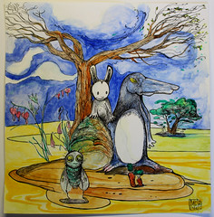 lapin mouche et chien pingouin (mc1984) Tags: mc1984 dessins drawings dibujos tree arboles arbres animal nature green aleister236 flickr creatif aquarelle ink encre paper papier funny