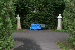 (Jamie Fyson Howard) Tags: krakow girls statues blue angels guardian park book reading worldyouthday poland rain raincoat white green mirror twin