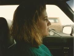 Nicoll, Oct 1987 (STUDIOZ7) Tags: 1980s 80s eighties woman girl smoking smoker cigarette dangling driving car highway sweater