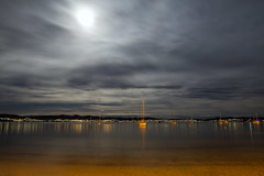 in between the moon and you (keith midson) Tags: moon fullmoon sandybay tasmania hobart water night evening cloud yachts boats still calm sigma art 24mm overcast