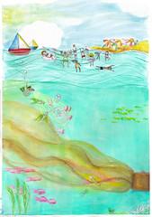 under the sea / bajo el mar (casimira parabolica) Tags: mar sea vacations vacaciones playa beach platja contaminacin pollution tortugas waste basura toxico toxic ilustracin illustration arte art