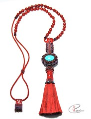 red and turquoise long beaded tasssel necklace (Ezartesa) Tags: redandturquoise beadednecklace redtasselnecklace turquoisenecklace adjustable reversiblenecklace redleather redbeads turquoisebeads seedbeads ezartesa