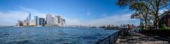 Lower Manhattan from Governors Island (Robert Lejeune) Tags: skyline urbanlandscape panorama ocean landscape wtc worldtradecenter skyscraper governorsisland manhattan shore sea waves sky