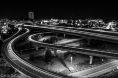 Providence (Carly Sabatino) Tags: providence blackandwhite bw light trails lighttrails highways underpass overpass buildings city nightshot nightshooting nikon d3200 manual raw fun