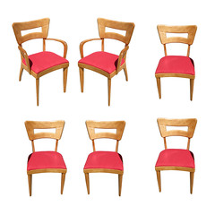 "Heywood Wakefield M154 ""DogBone"" Dining Chairs, Set of Six (20th Century Props) Tags: heywoodwakefield dogbone midcentury mcm birch dining chair vintage retro"