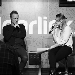 Sting in the ClearLink Lounge with Mandi from My99.5FM (LionessLeesha) Tags: newalbum singer thepolice saltlakecity utah interview musician blackandwhite mandi iradio clearlinklounge my995fm sting instagramapp square squareformat iphoneography inkwell