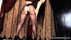 33 (opulentfetish) Tags: pantyhose highheels longhair blackhair goddesscheyenne pov rearend ass crotchless dungeon zipper breasts skirt posing bra legs legshow closeup atlantadominatrix opulentfetish