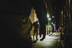 Chased (Braiu) Tags: street streetphotography candid city urban philadelphia man night shadows light cinematographic