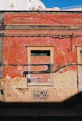 Dust (joshuacolephoto) Tags: faro portugal portuguese street colour color kodak film 135 35mm nikon f100 life wall red orange dust rust decay urbex graff graffiti travel explore journey happy architecture