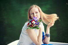Kristina (Yuliya Bahr) Tags: flowers portrait woman hair bouquet lovestory flyinghair