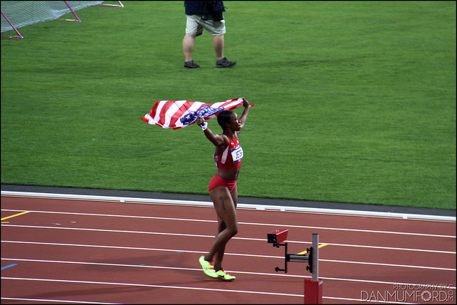 Carmelita Jeter after winning silver in the women's 100m final