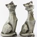 2002. Pair of Silvered Cubist Cats