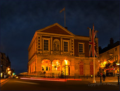 Guilded with Golden Light (jo92photos) Tags: uk wedding england night lowlight royal illuminated nighttime lighttrails flagpole berkshire unionflag windsorcastle towncentre guildhall floodlights windsorhighstreet ©allrightsreserved traffric royalcountyofberkshire jo92photos hs20exr