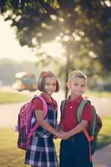 1st Day of Kindergarten (Rebecca812) Tags: road morning family school portrait sun bus tree leaves sunrise outside outdoors togetherness twins uniform sweet sister brother path lifestyle siblings neighborhood sidewalk growth transportation firstday backpack winding kindergarten schoolbus plaid excitement growingup preparation brownhair fiveyears blondhair hairbow riteofpassage nervouse anticiaption canon5dmarkii rebecca812
