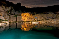 Rocks in fire (apophisnico) Tags: light graffiti sony lp graff stonepit carrire tamron1750 pailledefer sonya77 lightpaintingcarrirenuitlehinglsonyslta77 lightwhool steelwhoollightpaintingcarrirenuitlehingl