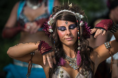 Dance to the rhythm (SauceyJack) Tags: woman smile smiling wisconsin bristol dance costume dancing cosplay makeup saturday bellydancer august fair fantasy performer bristolrenaissancefaire bellydancing maiden 25thanniversary pretend rensaissance canon1dx 7020028isiil