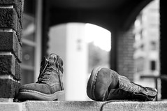 239/366 (local paparazzi (isthmusportrait.com)) Tags: blackandwhite bw white black brick texture feet closeup architecture contrast boot shoe prime iso100 pod raw arch bokeh highlights soul manual madisonwi combat sole laces 2012 isthmus bestfootforward 50mmf2ai nometering nikond90 danecountywisconsin 366project photoshopelements7 pse7 localpaparazzi redskyrocketman lopaps onefootinthedoor