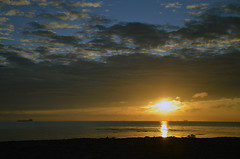 SUNRISE OVER BOTANY BAY   (118) (DESPITE STRAIGHT LINES) Tags: uk morning sea england sky cliff cloud sunlight seaweed beach wet water silhouette rock clouds sunrise dawn bay coast boat chalk kent seaside am sand nikon rocks waves ship cloudy sandy tide shoreline silhouettes sigma wave vessel cliffs coastal shore coastline rays sunrays botanybay tidal windfarm goldenhour turbines rayoflight firstlight broadstairs windturbines moored sigma1020mm thegoldenhour botanybaykent d7000 nikon18105mmvr nikongp1 botanybaybroadstairs nikond7000 offshorepower sunriseoverbotanybay botanybayuk