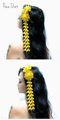 Yellow Falls (thea superstarr) Tags: yellow formal mum 2012 hairclip kanzashi hairaccessory fabricflower hairflower tsumamikanzashi theastarr vintagekimonofabric