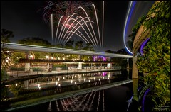 Monorail Monday - (Edition 46) (Coasterluver) Tags: reflection fireworks monorail hdr itsasmallworld monorailred markvii monorailmonday coasterluver motorboatdock