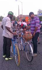 The Meeting of the Giants (russteaches) Tags: bike bag giant detroit bikes cm homer brakes schwinn mass critical ahh saddle tweed rivendell avocet saddlebag centerpull