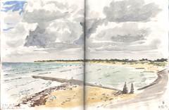120825 conche des baleines (Vincent Desplanche) Tags: mer lighthouse seascape france watercolor sketch aquarelle sketchbook phare r neocolor croquis borddemer
