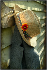 Early Morning on my Backdoor - Harris Tweed and Benjy (macfred64) Tags: home morninglight nikon d200 benjy textured backdoor harristweed skeletalmess nikonnikkor40mmf28gmicroafsdx