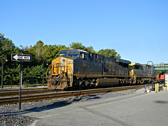 CSX 831-One Way (Photo Squirrel) Tags: railroad train maryland brunswick roadsign locomotive ge brightfuture csx freighttrain onewaysign railroadstructure brunswickmd railroadstation railroadcar railroadyard csxt freightcar darkfuture es44ac metropolitansubdivision csxdarkfuture frederickcountymd gelocomotive commuterrailstation manifestfreight q401 csxmetropolitansubdivision brunswickmarcstation brunswickmarcplatform brunswickrailroadstation csxbrightfuture csx831